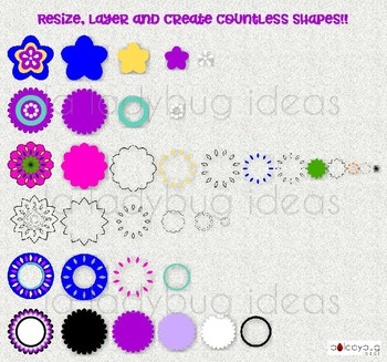Flowers, frames and mandalas. Clip art, digital papers and creator kit.
