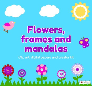 Flowers, frames and mandalas. Clip art, digital papers and