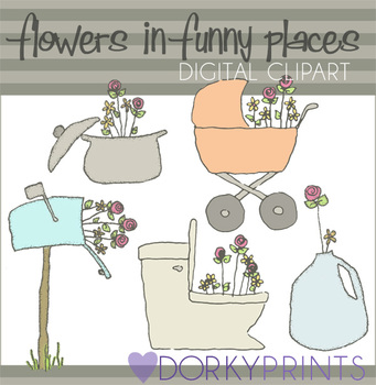 Flowers in Funny Places Digital Clip Art