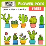 Flowers in pots Clip Art set / Cactus Clipart {Zlatoena Cliparts}