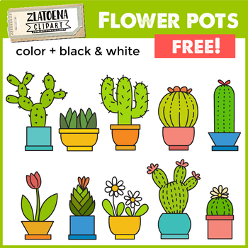 Flowers In Pots Clip Art Set Cactus Clipart Zlatoena Cliparts