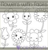 Flowers with Faces Black Line Art