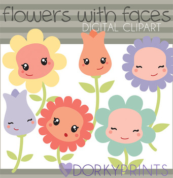 Flowers with Faces Digital Clip Art