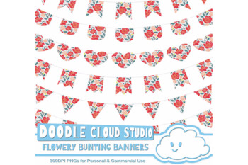 Flowery Bunting Banners Cliparts Pack, Flower Motif Flags