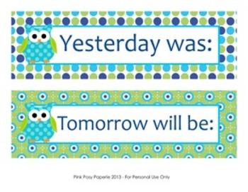 Blue and Green Owl Classroom Decor Days of the Week Calendar Headers
