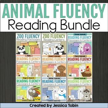 Fluency Passages and Fluency Activities Bundle- Zoofluency