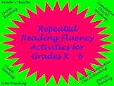 Fluency Activities Cover Page for Binder, Folder, etc.