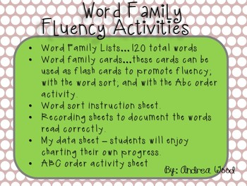 Fluency Activities with Word Families
