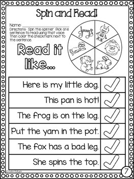 Fluency Activity - Spin and Read