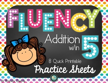 Fluency Addition within 5 Five Practice Sheets