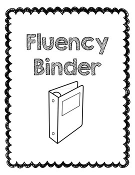 fluency binder cover page by splendid second teachers pay teachers