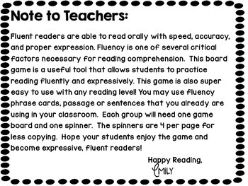 Fluency Board Game Reading With Emotions