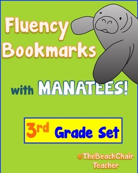 Fluency Bookmark 3rd Grade with Manatees