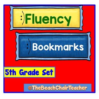 Fluency Bookmark 5th Fifth Grade Set Practice & Assessment - Marzano Compatible