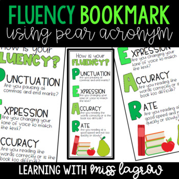 Oral Reading Fluency Bookmarks with PEAR Acronym