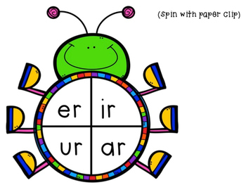 """Fluency Bug Spinners With """"R"""" controlled Vowels"""