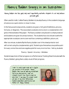 Fluency Builder: Energy in an Ecosystem