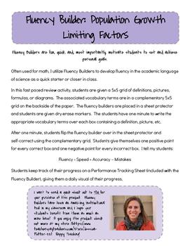 Fluency Builder: Population Growth Limiting Factors