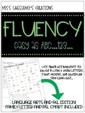 Fluency Builder with letters, sight words, and American Sign Language