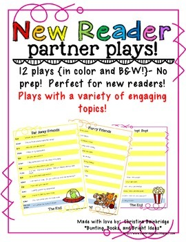 No Prep Partner Fluency Plays for New Readers- High K, 1st, and 2nd