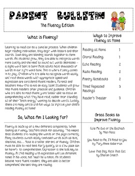 Fluency Bulletin for Parents: Strategies for Improving Fluency at Home