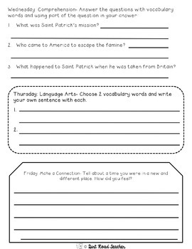 Reading Comprehension Passages MARCH Nonfiction Fluency, Vocabulary