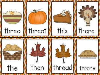 Fluency Cards {Thanksgiving sh and th}