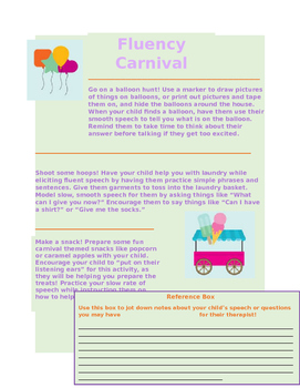 Fluency Carnival for Younger Children Who Sutter Handout