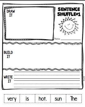 Fluency Activity Kindergarten Sentence Shuffle Mini Book Interactive Writing
