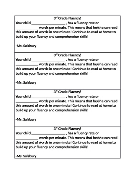 Fluency Check- Note to Parents