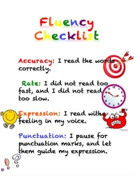 Fluency Checklist Anchor Chart, Poster, Interactive Notebook, Handout