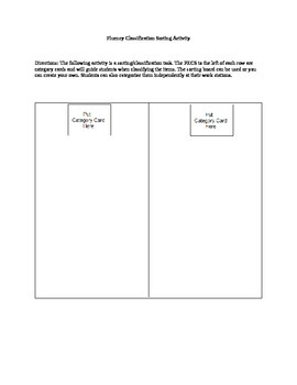 Fluency Classification Sorting Activity