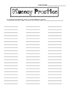 Fluency Creative Thinking