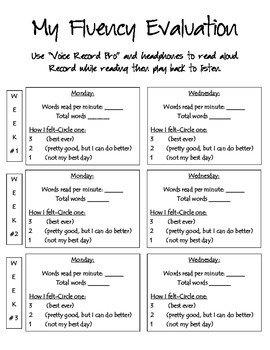 Fluency Data Recording Sheet
