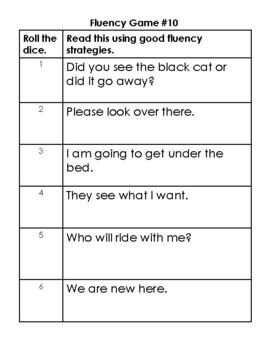 Fluency Dice Games: Primer sentences-center, classwork, homework
