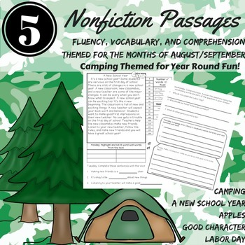 Reading Comprehension Passages August September Nonfiction Vocabulary Fluency