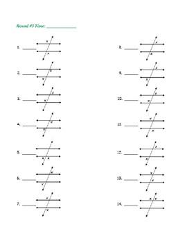 Fluency Drills, Transversals - Alternate Exterior Angles