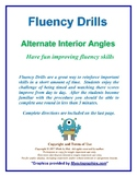 Fluency Drills, Transversals - Alternate Interior Angles
