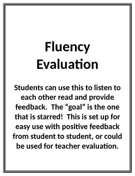 Fluency Evaluation Sheet (Common Core Related for Feedback)