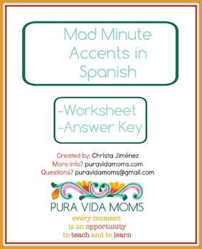 Fluency Exercise Mad Minute Accents in Spanish Native Speaker