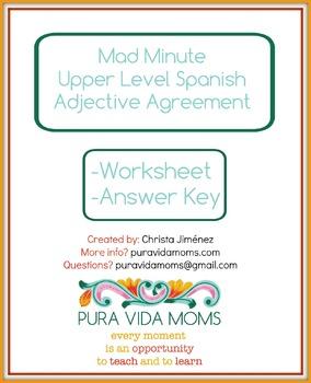 Fluency Exercise Upper Level Native Speaker Spanish Adjective Mad Minute
