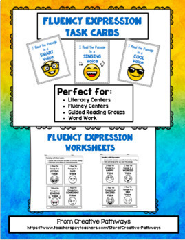 Fluency Expression Task Cards and Worksheets
