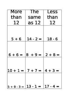 Fluency Fact Sort