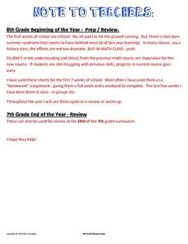 Fluency Factor - 8th Grade Math/Pre-Algebra  #1