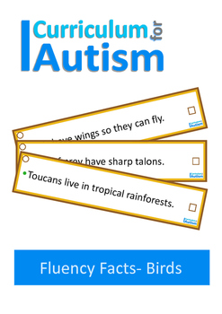 Autism Reading Fluency Facts, Non-Fiction Birds, Special E