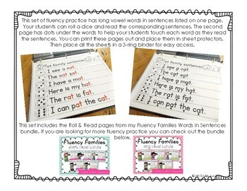 Fluency Families Roll & Read {long vowel words in sentences}