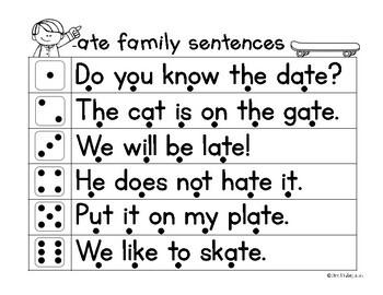 Fluency Families Roll & Read {long vowel words in sentences}