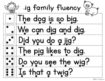 Fluency Families Roll & Read {short vowel words in sentences}