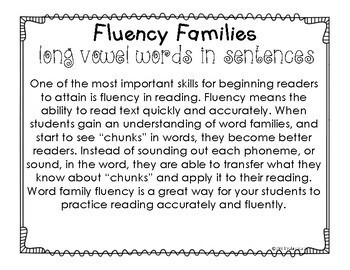 Fluency Families Words in Sentences {long vowel GROWING BUNDLE}