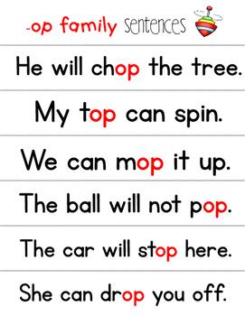Fluency Families Words in Sentences {short o words}